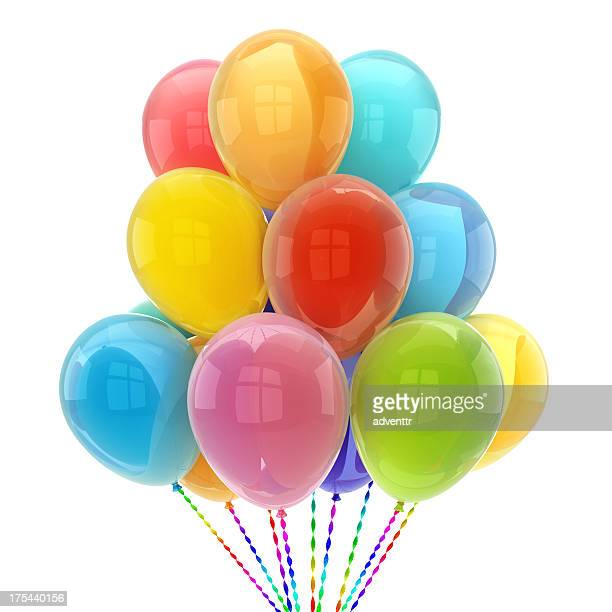 Colorful shiny balloons with glossy reflections