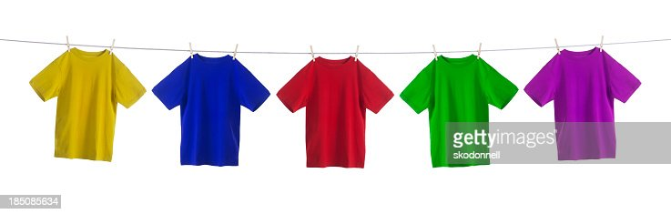 Colorful Shirts Hanging on a Clothesline