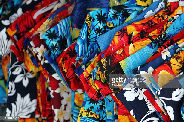 Colorful shirts in Traditional Hawaii textiles Background