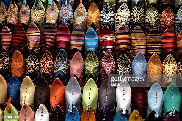 Colorful shoes for sale at street market in Marrakesh, Morocco