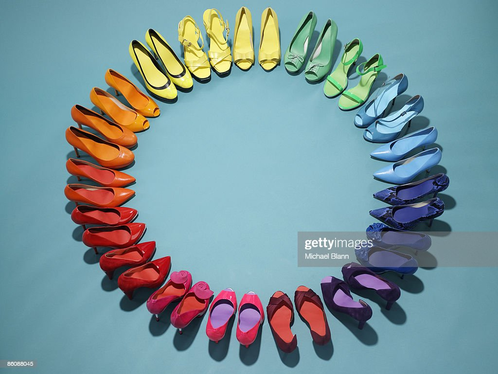 Colorful shoes form a color wheel