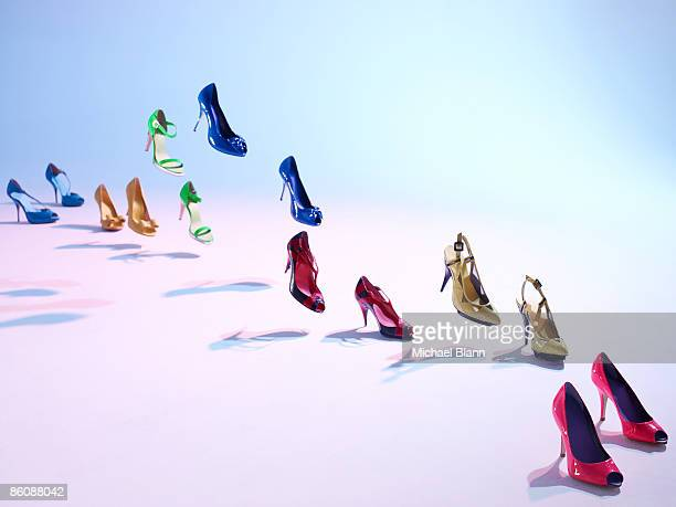 Colorful shoes walk on their own