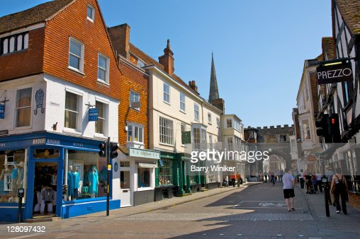 Salisbury United Kingdom  city images : Colorful shops and buildings on High Street, Salisbury, United Kingdom