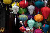 Stock image of very much lantern for sale and decoration in Hoi An. Hoi An, once known as Faifo and noted a UNESCO World Heritage Site