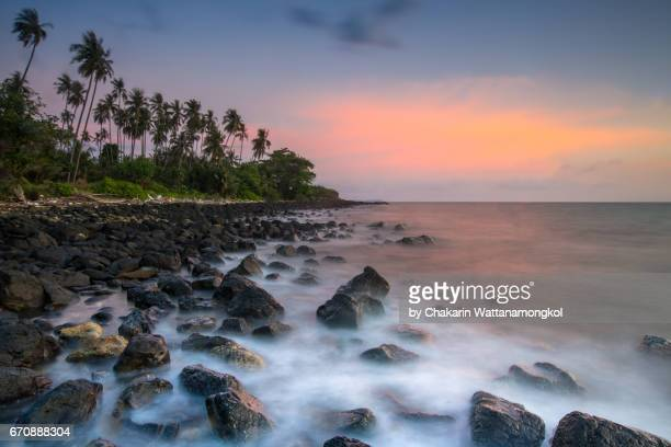 Colorful Sky and Rocky Beach - Seascape of Koh Mak Island.