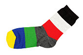 single colorful sock isolated on white