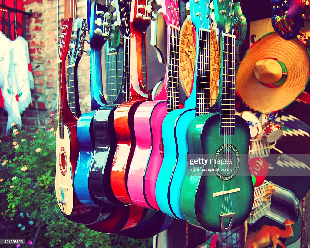 Colorful spanish guitars : Stock Photo
