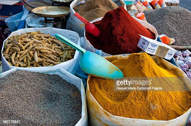 Colorful spices at a streets stall in the market area of the ancient Medina