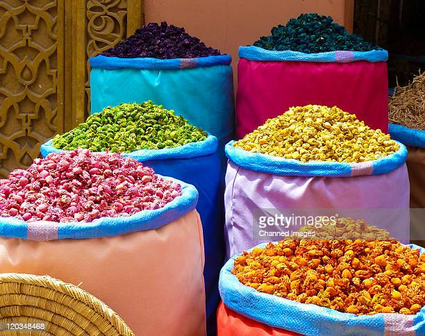 Colorful spices in sack