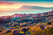 Colorful spring sunset in the Solanto village, Mediterranean sea, province