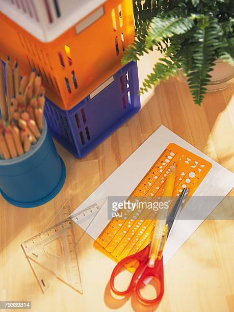 Colorful stationeries and piled up boxes