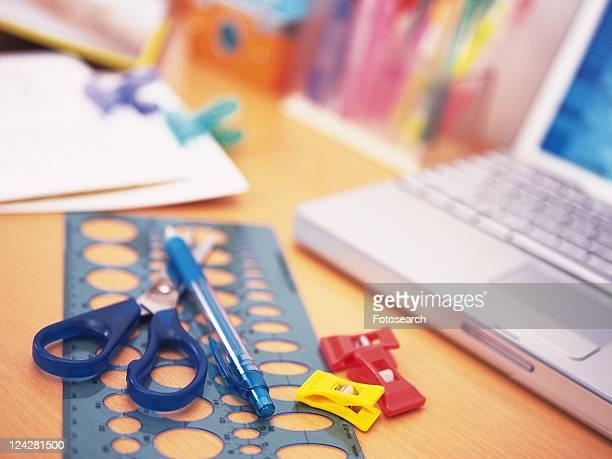 Colorful stationeries on desk