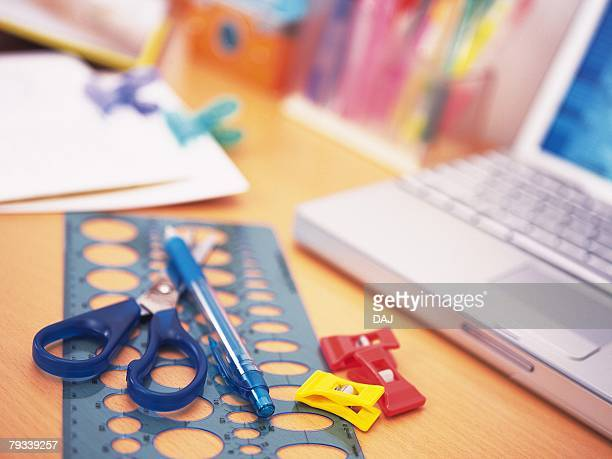 Colorful stationeries on desk