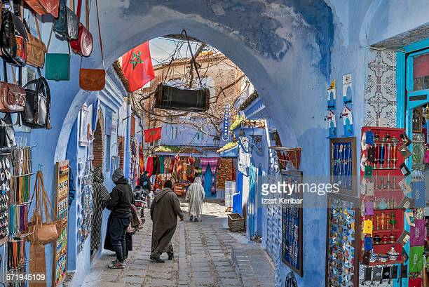Colorful street and shops in Medina of Chefchaouen