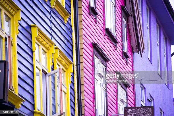 Colorful street in Stanger, Norway