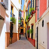 Colorful narrow street in the beautiful old town of Sevilla, Spain