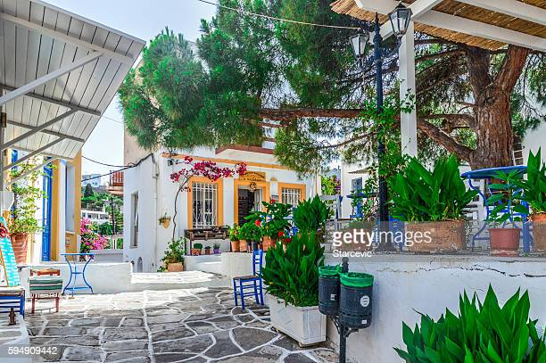 Colorful street on the Greek island of Paros