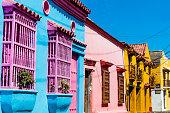 Colorful streets of Getsemani aera of Cartagena de los indias Bolivar in Colombia South America