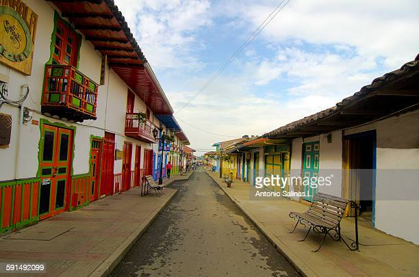 Colorful streets of Salento. Quindío. Colombia