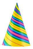 Colorful and vibrant party hat isolated on white