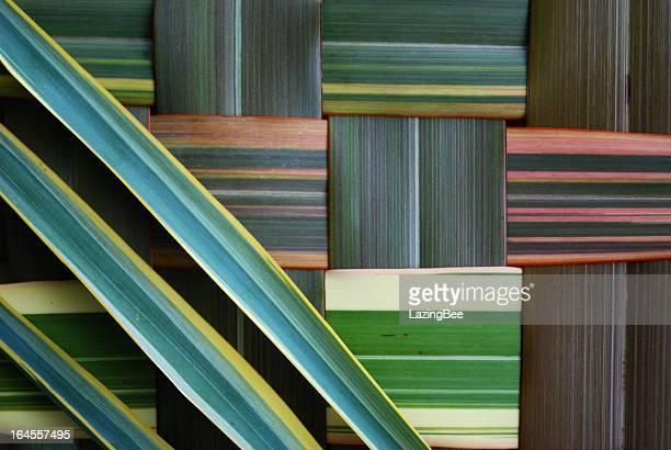 Colorful stripes make up a harakeke background