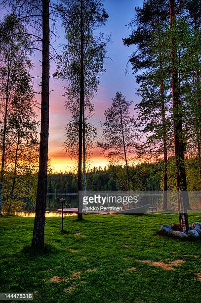 Colorful summer night sunset on Finland