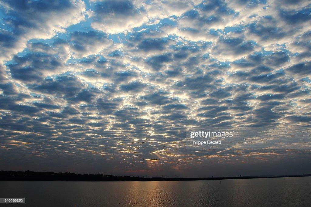 Colorful sunset landscape at Itaipu Lake, Foz do Iguaçu, Paraná State, Brazil : Stock Photo