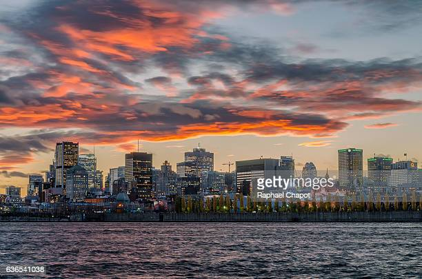 Colorful sunset of Montreal City, Canada, from the Jean Drapeau Park.