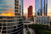 Colorful sunset over Houston skyline