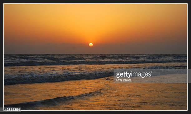Colorful sunshine on sea