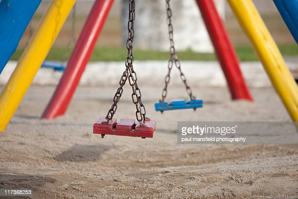 Colorful swings at playground