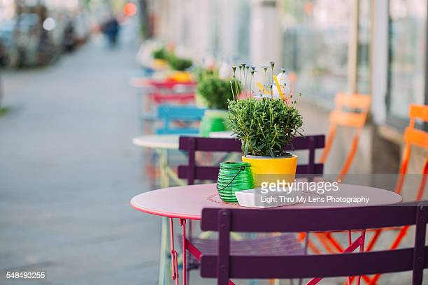 Colorful tables and chairs