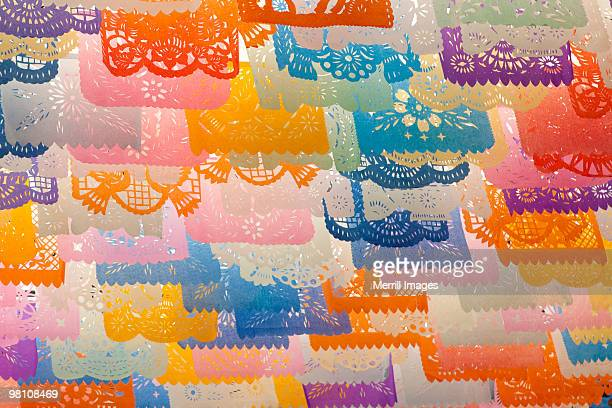 colorful tissue paper cut-out flags 'papel picado'