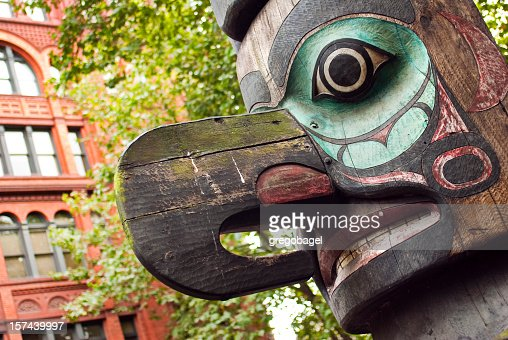 Colorful totem pole at Pioneer Square in Seattle, WA