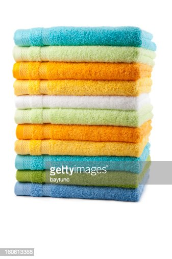 Colorful towels placed in a stack