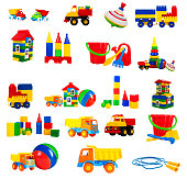 colorful toy for children isolated on white background, set. toys - a truck, a train, blocks, jump rope, house, whirligig, ball, construction blocks, pyramid, bucket, shovel, rake, watering