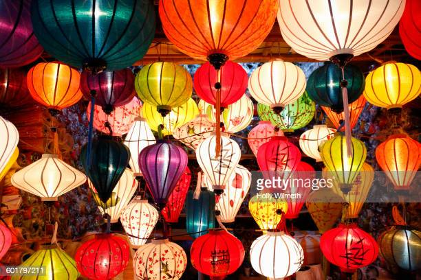 Colorful traditional lanterns hanging from ceiling