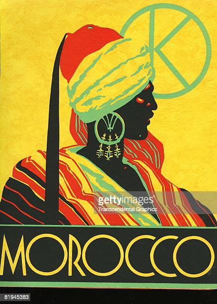 Colorful travel poster for the country of Morocco The silkscreen was published by Gebrauchs Graphik company of Berlin