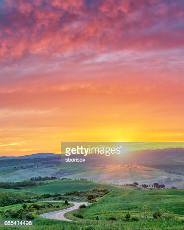 Colorful Tuscany sunrise : Stock Photo