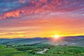 Beautiful Tuscany landscape at sunrise, Italy