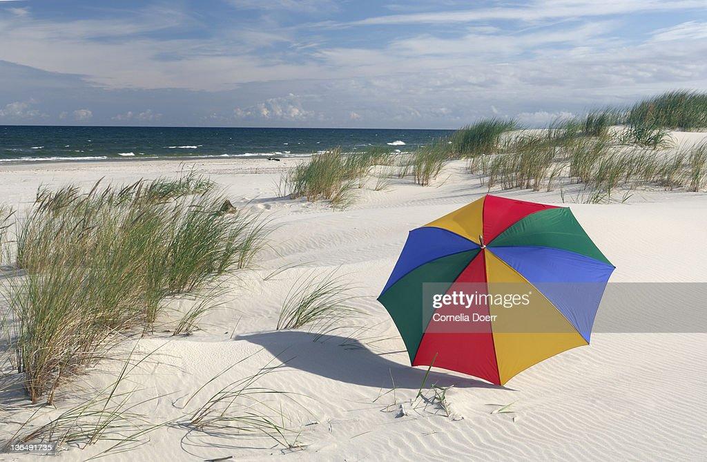Colorful Umbrella on Beach at Baltic Sea : Stock Photo