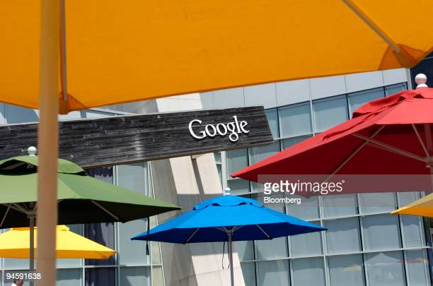 Colorful umbrellas decorate a courtyard at Google Inc headquarters in Mountain View California on Wednesday May 16 2007 Google Inc the mostused...