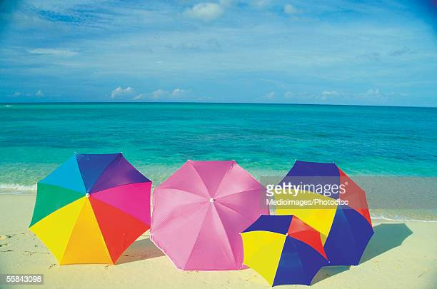 Colorful umbrellas on the Caribbean Beach