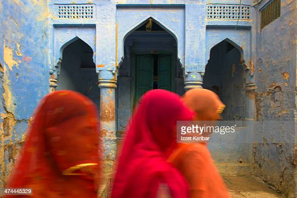 Colorful veiled women in the streets of Pushkar