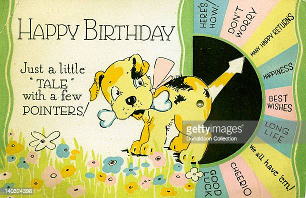 A colorful vintage cartoon greeting card depicts a caricature of a dog with a bone in its mouth and its tail pointing to various well wishes for a...