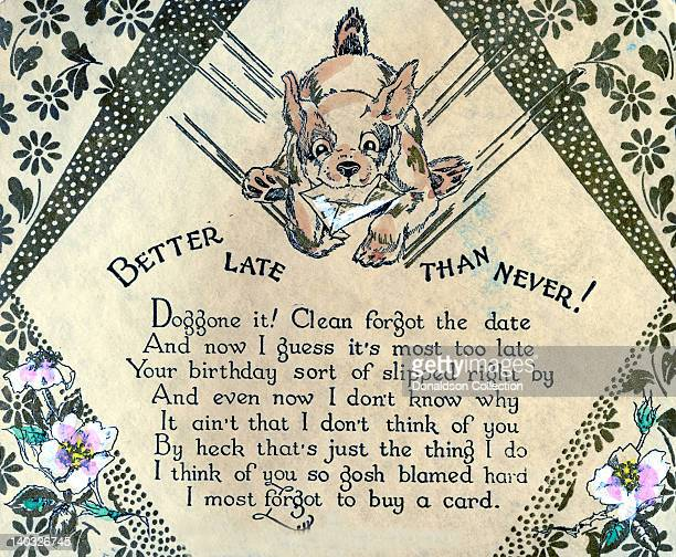 A colorful vintage cartoon greeting card depicts a dog running with an envelope and reads 'Better late than never Doggone it Clean forgot the date...