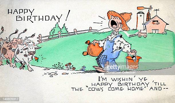 A colorful vintage cartoon greeting card depicts a farmer and cows on a farm and reads 'Happy Birthday I'm wishin' ye happy birthday 'till the 'Cows...