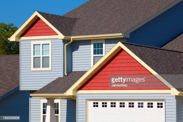Colorful Vinyl and Cedar House; Red, Yellow, Blue