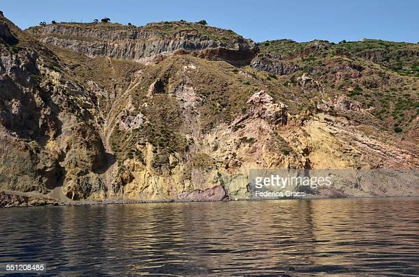 Colorful volcanic rock coastline at Lipari
