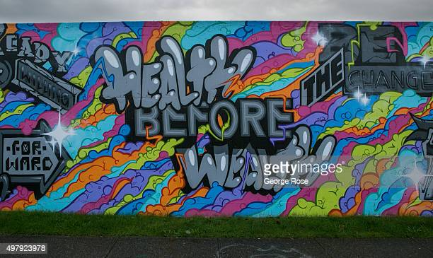 A colorful wall mural located next to Interstate 5 and 90 is viewed on November 3 in Seattle Washington Seattle located in King County is the largest...